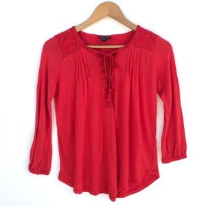 Lucky Brand Long sleeve Lace -Up Blouse